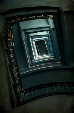 Jaroslaw Blaminsky OLD STAIRCASE FROM BELOW IN SHADOW Stairs/Steps