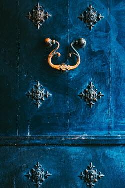 Magdalena Wasiczek close up of old  blue door with knocker Building Detail