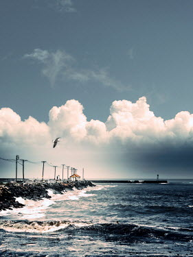 Mary Wethey SEA AND LONG JETTY WITH CLOUDS Seascapes/Beaches