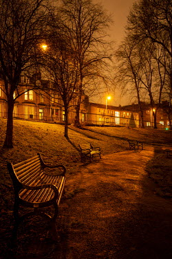 Laurence Winram EMPTY PARK AND HOUSES WITH GOLDEN LAMPLIGHT Body Detail