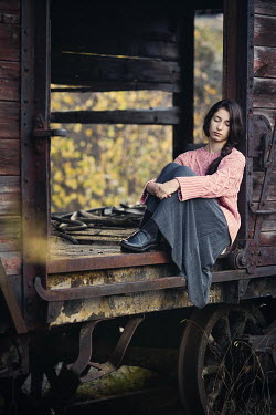 Svetlana Bekyarova GIRL SITTING IN OLD FREIGHT TRAIN Women