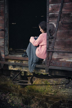 Svetlana Bekyarova GIRL SITTING IN OLD TRAIN WAGON Women
