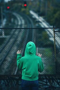 Svetlana Bekyarova GIRL WATCHING RAILWAY TRACK FROM BRIDGE Children