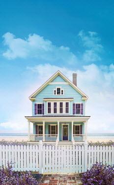 Sandra Cunningham BLUE BEACH HOUSE WITH FENCE IN SUMMER Houses