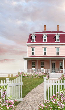 Sandra Cunningham PINK BEACH HOUSE WITH FENCE IN SUMMER Houses