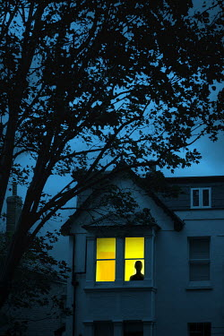Magdalena Russocka silhouette of woman in window of house at night