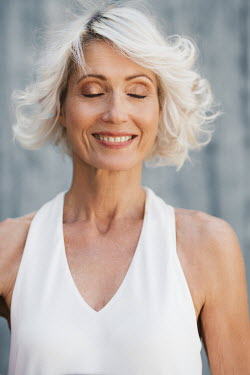 Nina Masic HAPPY WOMAN WITH WHITE HAIR OUTDOORS IN SUMMER Old People