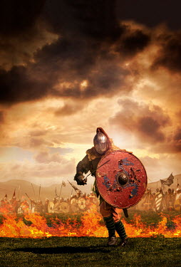Stephen Mulcahey MEDIEVAL WARRIOR ON BATTLEFIELD WITH FLAMES Men