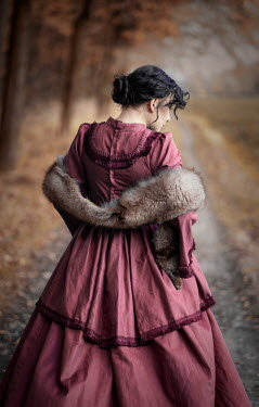 Jaroslaw Blaminsky HISTORICAL WOMAN WITH FUR STOLE IN COUNTRYSIDE Women