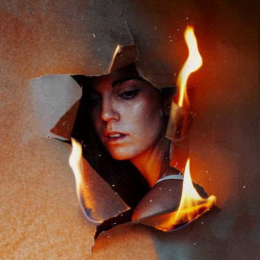 Rebeca Cygnus HOLE IN BURNING PAPER WITH FEMALE FACE Women