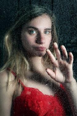 Stephen Carroll WOMAN IN RED LINGERIE TOUCHING WET WINDOW Women