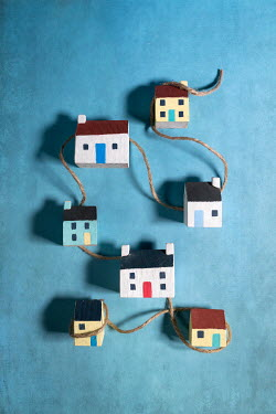 Peter Chadwick Model wooden houses tied with string