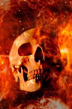 Valentino Sani Human skull in fire