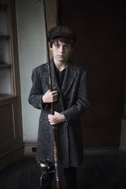 Erika Masterson Boy in vintage hat and coat with fishing rod