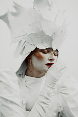 Kirill Sakryukin Young woman with powdered face and feather headdress