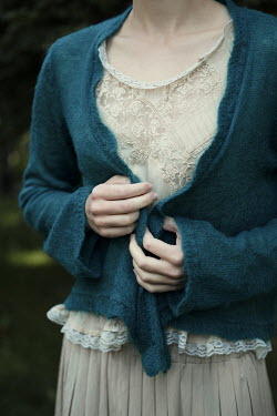 Magdalena Russocka close up of woman in blue jumper outside