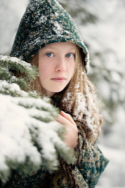 Jaime Brandel Girl in green cloak during winter Children