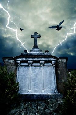 Valentino Sani Pigeons flying over tombstone during lightning storm