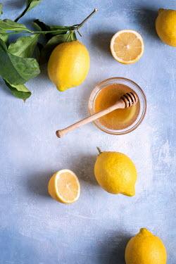 Galya Ivanova Lemons and honey on blue background