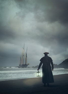 Mark Owen Pirate with lantern on beach with ship at sea