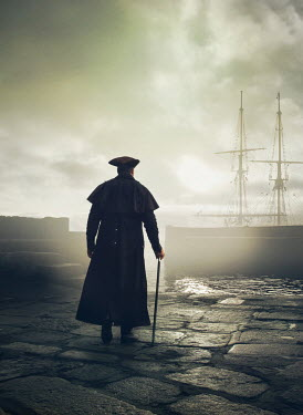 Mark Owen Pirate in hat and coat with cane by ship