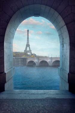 Drunaa Eiffel Tower and the Seine in Paris, France
