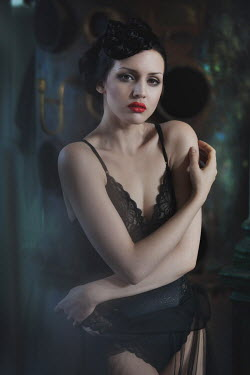 Beata Banach Young woman with red lipstick on black lingerie