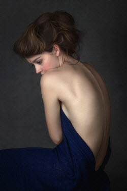 Beata Banach Naked woman wrapped in blue blanket