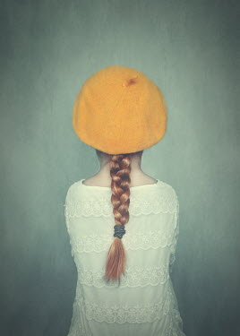 Anna Buczek Girl with yellow beret and plaited hair from behind