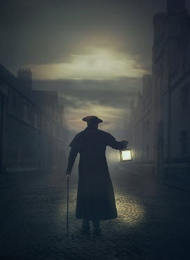 Mark Owen Man in coat and tricorne hat walking with cane and lantern on street