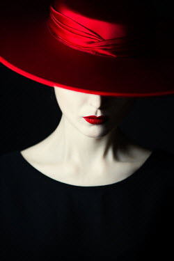 Magdalena Russocka close up of elegant woman in red hat