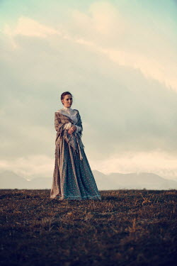 Magdalena Russocka historical woman standing in countryside