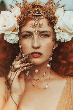 Jovana Rikalo WOMAN IN ORNATE HEADDRESS AND JEWELLERY WITH FLOWERS Women