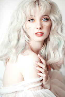 Jovana Rikalo WOMAN WITH WHITE HAIR AND PAINTED FRECKLES Women