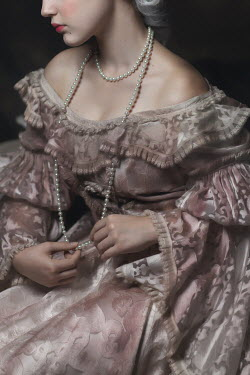 Beata Banach CLOSE UP OF HISTORICAL WOMAN WITH PEARLS Women