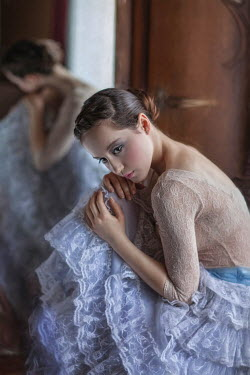 Beata Banach DAYDREAMING WOMAN REFLECTED IN MIRROR Women