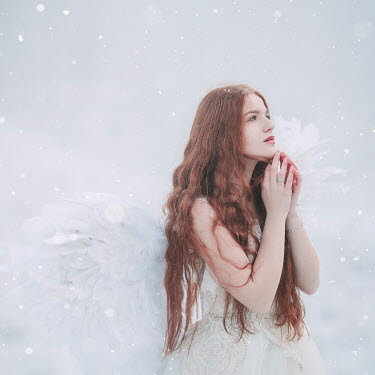 Jovana Rikalo WOMAN WITH LONG RED HAIR AND ANGEL WINGS Women