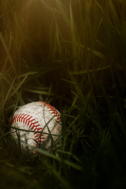 Amy Weiss CLOSE UP OF BASEBALL IN GRASS Miscellaneous Objects