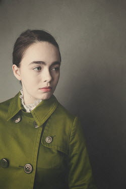 Anna Buczek YOUNG BRUNETTE GIRL IN GREEN COAT Women