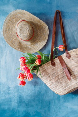 Magdalena Wasiczek TULIPS IN STRAW BAG WITH HAT Flowers