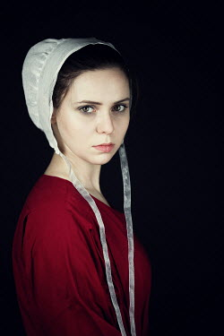 Magdalena Russocka historical woman in red dress and white bonnet