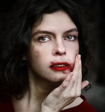 Svitozar Bilorusov Crying woman with smudged lipstick
