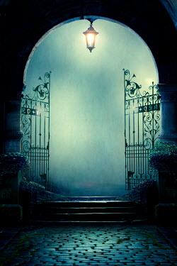 Lee Avison creepy arched gateway at night in fog