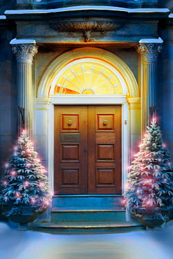 Lee Avison doorway to a grand house at christmas
