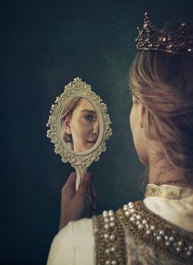 Mark Owen Woman in medieval crown using hand mirror