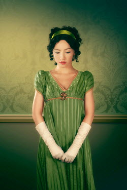 ILINA SIMEONOVA HISTORICAL WOMAN IN GREEN DRESS AND EVENING GLOVES Women