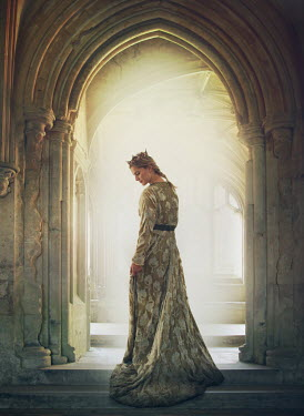 Mark Owen Young woman in medieval gown in archway