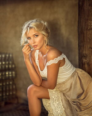 Anna Volynskaia Seductive young woman in cellar