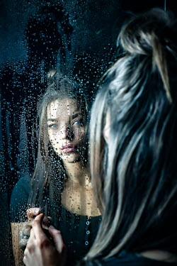 Stephen Carroll BRUNETTE WOMAN REFLECTED IN WET MIRROR Women