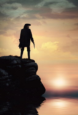 Magdalena Russocka historical man in tricorn hat and long jacket with flintlock standing on cliff at sunset